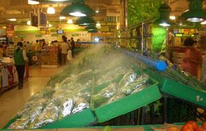 Humidification et refroidissement des étalages de fruits,légumes et poissons....