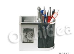 Porte stylos avec montre numérique