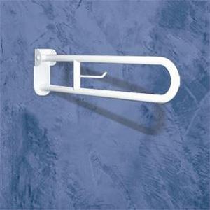 Barre d'appui rabattable en acier traité avec longue plaque et friction, équipée d'un dérouleur de papier de marque Goman