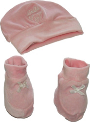Ensemble bonnet + chausson pour bébés