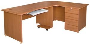 Bureau avec retour + 4 tiroirs