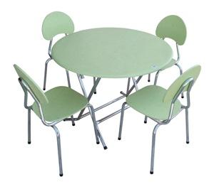 Table pliante circulaire + chaises