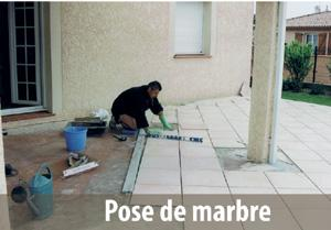 Applications pour le bâtiment: pose de marbre
