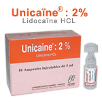 Médicaments: Injectables liquides UNICAINE 2 %