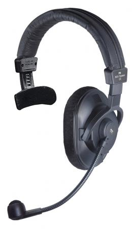 Light single-ear headset for on-air commentary, sportscasters, intercom and talkback systems (optionally with limiter).
