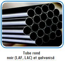 Tube rond noir et galvanisé