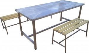 Table avec banc en inox