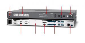 Sélecteur-scaler de présentation à six entrées, conforme à la norme HDCP