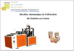 Machine de fabrication gobelet en carton