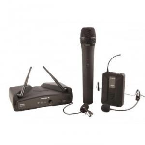 Système sans fil  avec  1 micro  cravate, 1 micro main et 1 micro  serre-tête  récepteur  Diversity UHF fréquence fixe contrôlée par Quartz