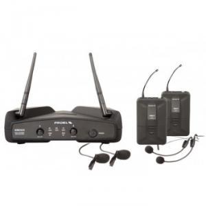 Système sans fil  avec 2 micros cravate et 2  serre-tête  récepteur double canaux Diversity UHF fréquence fixe contrôlée par Quartz