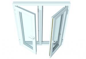 Fenêtre a la française à 2 panneaux avec traverse en pvc