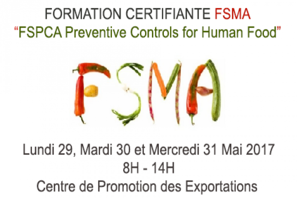 Formation certifiante FSMA:  FSPCA Preventive Controls for Human Food
