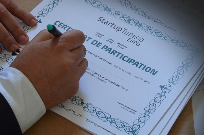 Certificat Lauréat Concours Startup Tunisia Awards